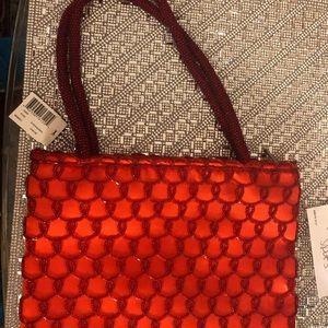 Red Satin and bead evening bag
